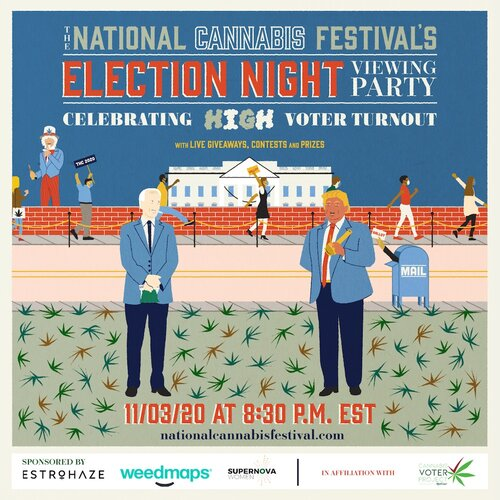 national cannabis festival party election night party poster
